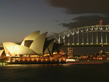 Sydney Opera House and Harbor Bridge at Night  Sydney  Australia