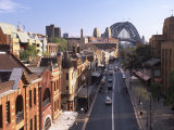 Historic Buildings and Sydney Harbor Bridge  The Rocks  Sydney  Australia