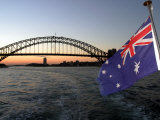 Australian Flag and Sydney Harbor Bridge at Dusk  Sydney  Australia