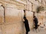 Men Praying at the Wailing Wall  Jerusalem  Israel