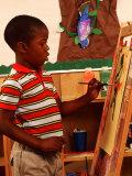Student in Kindergarten Art Class