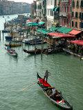 Gondolas on Grand Canal  Venice  Italy