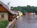Cottages on Vltava River in Cesky Krumlov  Czech Republic