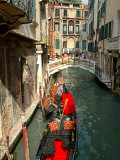 Gondolas along Canal  Venice  Italy