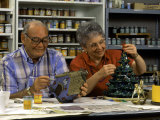 Retired Couple Making Ceramics in Art Class