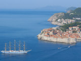 Aerial View of Medieval Walled City and Royal Clipper  Dubrovnik  Croatia