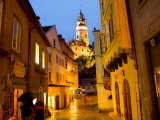 Night View of Town Center and Castle in Cesky Krumlov  Czech Republic