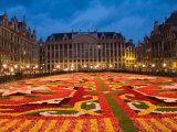 Night View of the Grand Place with Flower Carpet and Ornate Buildings  Brussels  Belgium