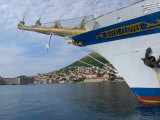 Royal Clipper in Harbor with View of Old Town  Dubrovnik  Croatia