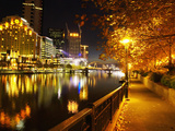 Southbank  Yarra River  and Flinders Walk  Melbourne  Victoria  Australia
