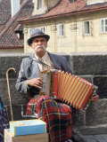 Polka Performer with Accordion on the Charles Bridge  Prague  Czech Republic