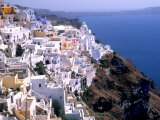 Mountains with Cliffside White Buildings in Santorini  Greece