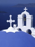Dome and Crosses of Greek Church  Santorini  Greece