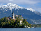 Bled Castle and Julian Alps  Lake Bled  Bled Island  Slovenia