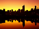 Melbourne CBD and Telstra Dome at Dawn  Victoria  Australia