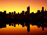 Melbourne CBD and Telstra Dome at Dawn  Victoria  Australia