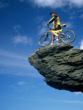 Mountain Biker and Rock Tor  Dunstan Mountains  Central Otago