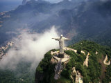 Corcovado Christ Statue on Mountain  Rio de Janeiro Peak  Brazil