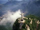Corcovado Christ Statue on Mountain  Rio de Janeiro Peak  Brazil