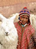 Boy in Costume with Llamas  Cuzco  Peru