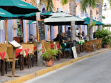 Restaurants Along a Street by the Plazuela Machado  Mazatlan  Mexico