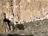 Ancient Anasazi Ruins and Cliff Dwellings in Rock  Bandlelier National Monument  New Mexico  USA