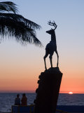 Sunset Near the Deer Monument at the Olas Altas  Mazatlan  Mexico