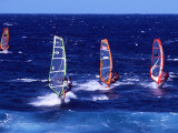Wind Surfers on the Coast of Maui  Hawaii  USA