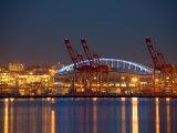 Qwest Field and Elliott Bay View from Alki  Seattle  Washington  USA