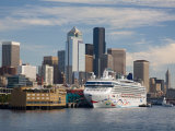 Skyline with Cruise Ship from Elliott Bay  Seattle  Washington  USA