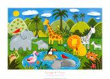 Les animaux de la jungle Reproduction d'art par Sophie Harding