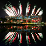 Fireworks over Bird&#39;s Nest  2008 Summer Olympics  Beijing  China
