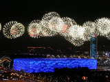 Fireworks over Water Cube  2008 Summer Olympics  Beijing  China