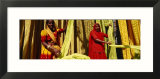 Portrait of Two Mature Women Working in a Textile Industry  Rajasthan  India