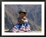 Little Girl in Traditional Dress  Colca Canyon  Peru  South America