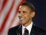 President-Elect Barack Obama Smiles During Acceptance Speech  Nov 4  2008
