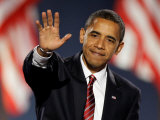 President-Elect Barack Obama Waves after Acceptance Speech  Nov 4  2008