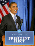 President-Elect Barack Obama Smiles Before Speaking  Press Conference  Nov 7  2008