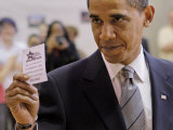 Democratic Candidate for President  Barack Obama Holding Up Voting Receipt  Chicago  Nov 4  2008