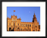 Moon Over Decorative Building  Seville  Spain