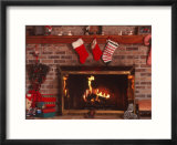Fireplace with Christmas Stockings