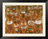 European beer glasses with pretzels