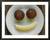 Smiling Breakfast of Muffins and a Banana
