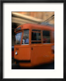 Orange Tram Moving  Naples  Italy