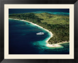 Aerial of Blue Lagoon Cruises Ship Anchored Off Island  Fiji