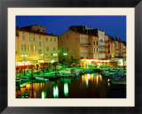 Harbour at Night with Buildings Along Quais Frederic Mistral and Jean Jaures  St Tropez  France