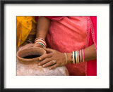 Woman's Hands on a Pottery Jug for Carrying Water  Thar Desert  Jaisalmer  Rajasthan  India