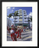 Art Deco Architcture with Marching Band  South Beach  Miami  Florida  USA