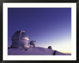 Observatories at Summit of Mauna Kea  Big Island  Hawaii  USA