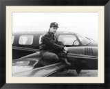 Gary Numan Pop Star Poses Beside His Pride and Joy a Black Navajo Twin-Engined Plane  February 1982